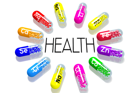 Health concept - colorful pills