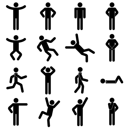 pose, poses, avatar, human, people, person, man, body, male, posture, black, emotion, happy, character, posing,  hand, leg, simple, figures, postures, action, accident, gymnastics, standing, jumping, motion, running, walking, laying,  problem, solution, direction, helping, pointing, diversity, pictogram, illustration, graphics, symbol, concept, abstract, vector, icon, silhouette, set, figure, sign, collection, design, drawing