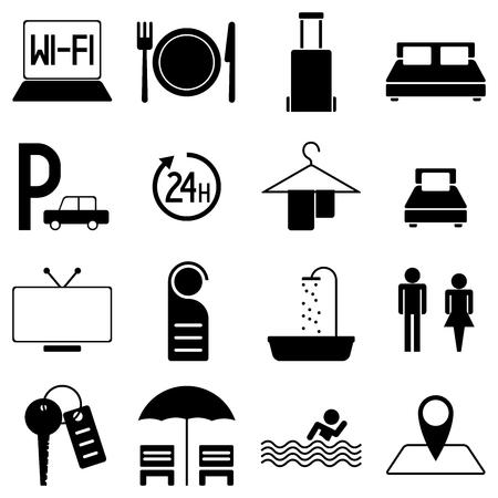 Black vector illustrations pictograms for topics like travelling hotel motel etc - 16 illustrations.