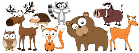 Forest animals/ woodland animals - collection of funny vector clip-arts (elk/moose, bear, fox, hedgehog, owl, racoon, wild boar, brown bear, roe/deer)