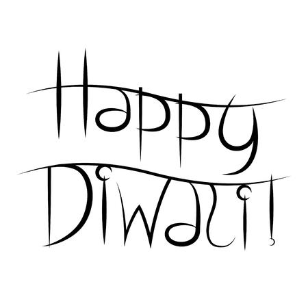Happy Diwali - black text on white background
