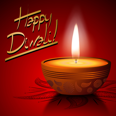 Happy Diwali card with a candle