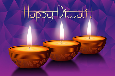 Happy Diwali card, three candles Stockfoto - 106532074