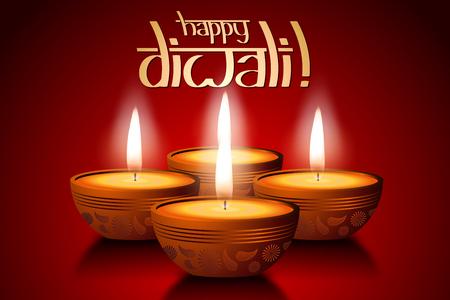 Happy Diwali card, four candles Stockfoto