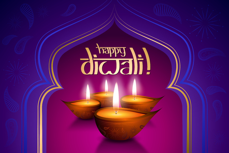 Happy Diwali card, four candles Stockfoto - 106532079