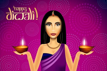 Happy Diwali card, indian woman wearing saree Stockfoto