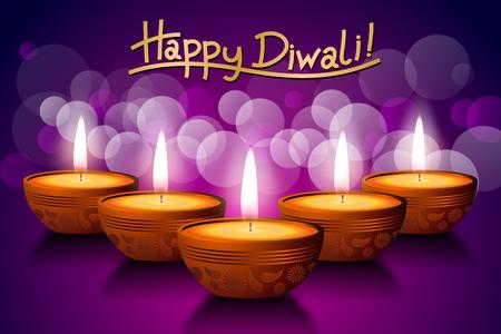 Happy Diwali card, five candles