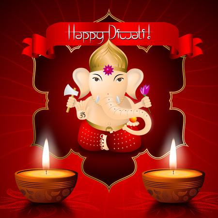 Happy Diwali card with Ganesha