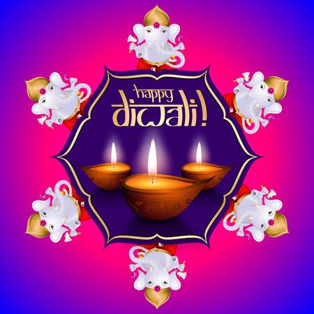 Happy Diwali card, Ganesha - Vector illustration Stock Photo