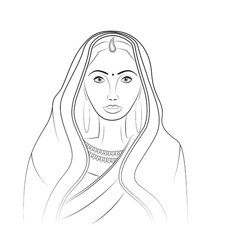 Indian woman wearing saree - outlines