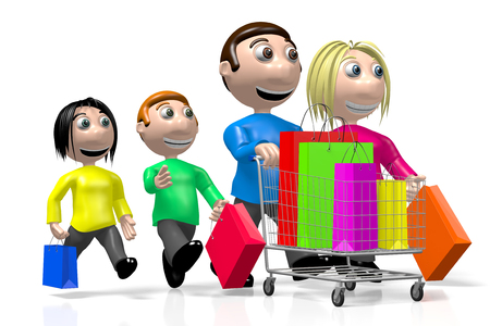 3D happy family, shopping concept