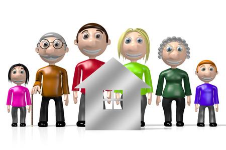 3D family - house shape Stock Photo