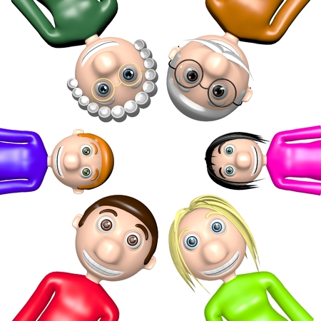 3D family - heads together