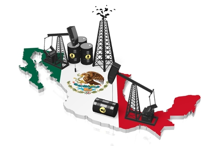 3D oil wells in Mexico concept