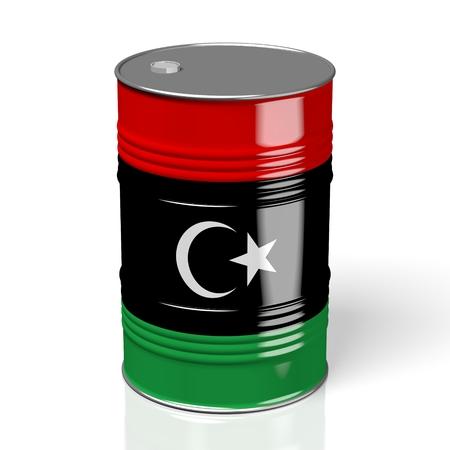 3D oil barrel/ flag of Libya Archivio Fotografico