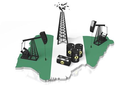 Pozos de petróleo 3D en concepto de Nigeria