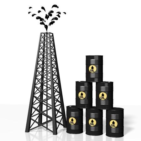 3D oil well, barrels - fuel industry