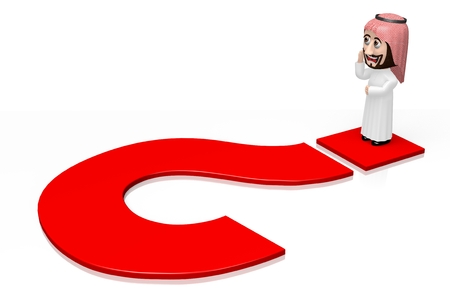 3D arab cartoon character, question mark