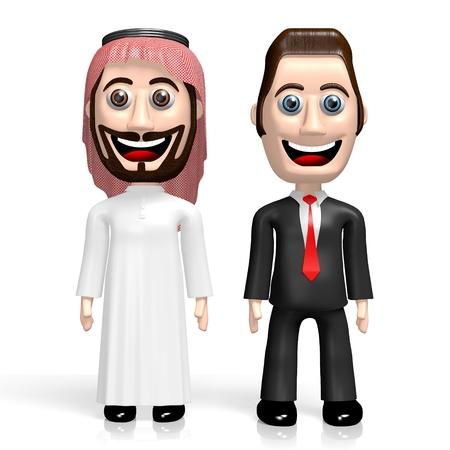 3D arab and businessman - cooperation Reklamní fotografie