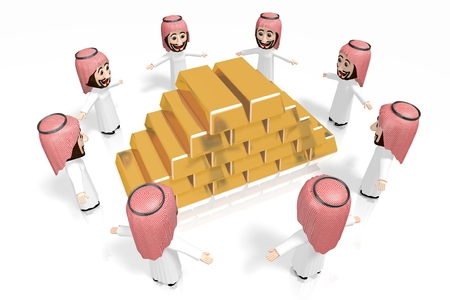 3D arabs - cartoon characters, ingot