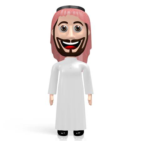 3D arab cartoon character standing on white background
