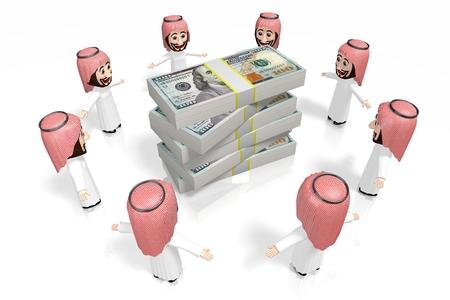 3D arabs - cartoon characters, hundred dollar bills Reklamní fotografie
