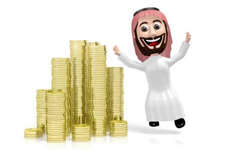 3D jumping arab cartoon character, golden coins