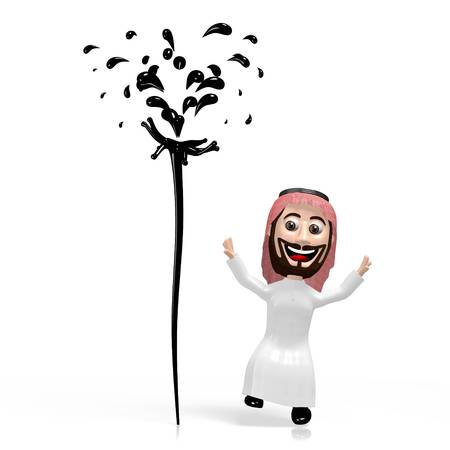 3D arab cartoon character, oil concept Фото со стока