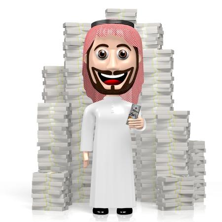 3D arab cartoon character, hundred dollar bills