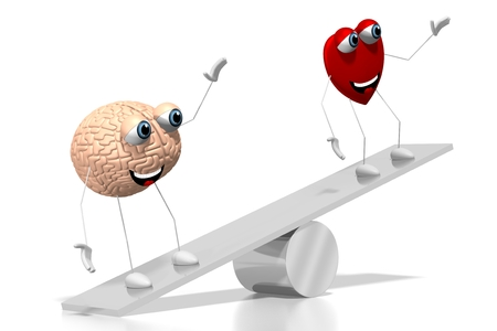 3D heart and brain cartoon characters, swing concept