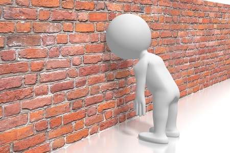 Se cogner la tête contre le mur/concept de frustration Banque d'images