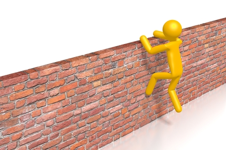 Jumping over wall, overcoming problems concept