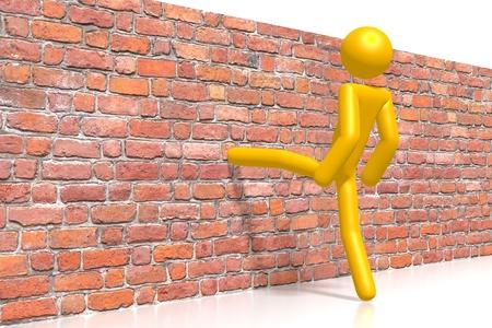3D brick wall - kicking Stock Photo - 110065344