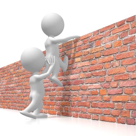 Helpen om over de muur te komen concept