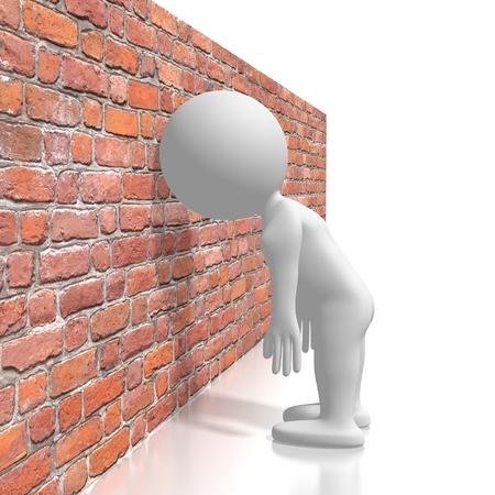 Sbattere la testa contro il muro/concetto di frustrazione Archivio Fotografico
