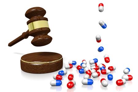 3D gavel, pills - medical law concept