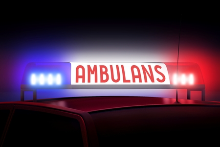 Blue and red police lights - Ambulance (English)/ Ambulans (Polish) Stock Photo