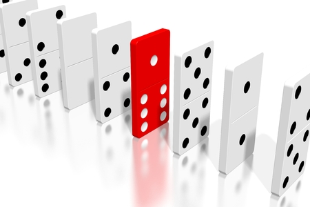 3D white and red dominoes - extraordinary concept 스톡 콘텐츠