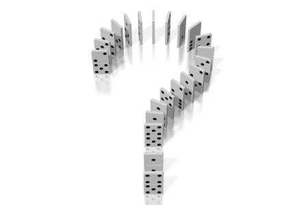 3D white dominoes - question mark shape Фото со стока - 114136241