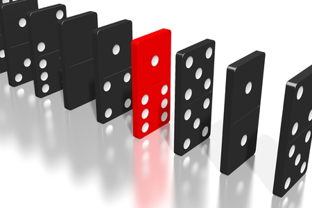 3D black and red dominoes - extraordinary concept