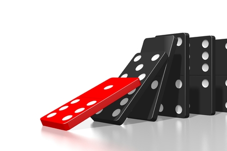 3D first domino tile falls down Stock Photo - 114136634