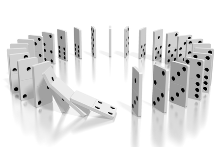 3D white dominoes standing in circle Archivio Fotografico