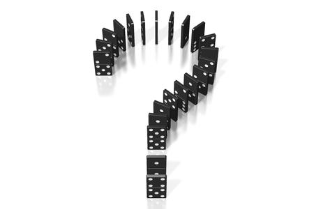 3D black dominoes - question mark shape 写真素材