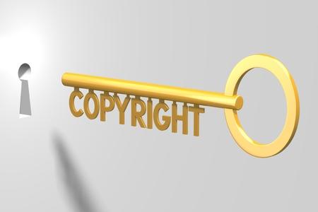 3D key concept - copyright