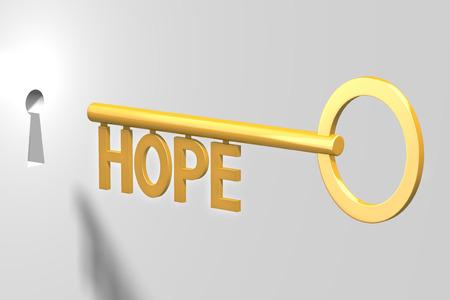 3D key concept - hope
