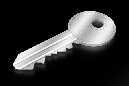 3D silver key on black background