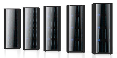 3D servers illustration - great for topics like storage, hosting, data center, Internet etc.