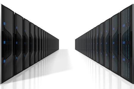 3D servers illustration - great for topics like storage, hosting, data center, Internet etc. Stock Illustration - 117113150
