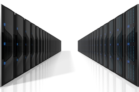 3D servers illustration - great for topics like storage, hosting, data center, Internet etc.