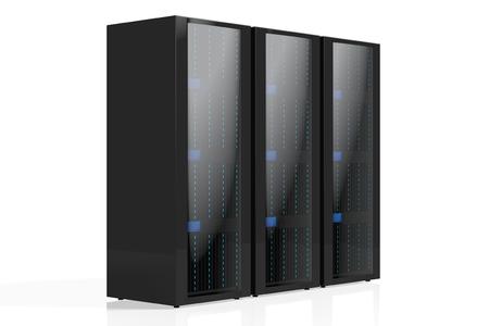 3D three servers illustration - great for topics like data storage, hosting, Internet etc.